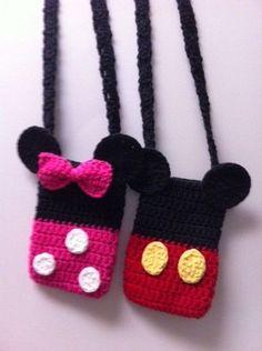 Crochet Purses Mickey or Minnie Mouse Disney inspired Crochet Bag Purse - Crochet Crafts, Yarn Crafts, Crochet Toys, Crochet Baby, Crochet Projects, Knit Crochet, Free Crochet, Crochet Disney, Crochet Mickey Mouse