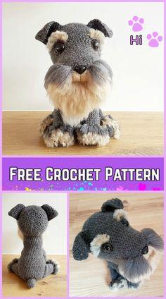 Crochet Schnauzer Dog Plush Toy Amigurumi Free Pattern