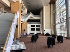 Rail draping and uplights   #CincinnatiWedding #PartyPleasers #Uplights #CeilingSwag #Customdrape Paul Brown Stadium, Custom Drapes, Draping, Stairs, Home Decor, Stairway, Decoration Home, Staircases, Room Decor