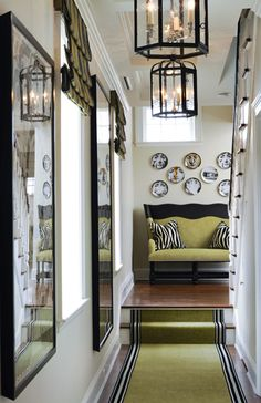 Hallway decor with striped runner & pendant lighting. Good idea for small  space.