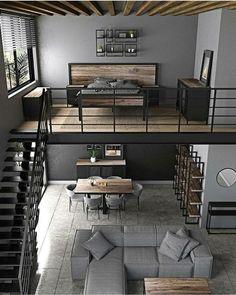 Loft House Design, Loft Interior Design, Industrial Interior Design, Home Room Design, Dream Home Design, Interior Architecture, Modern Interior, Apartment Interior, Apartment Design