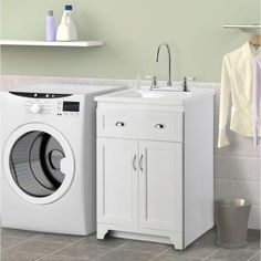 Laundry Vanity In White And ABS Sink In White And Faucet Kit