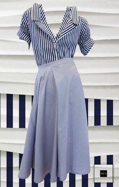 Las rayas, que son un clásico, se reinventan en MEV con el navy y blanco como protagonistas y cuyo origen viene de la moda mediterránea, fresca y de buen gusto.