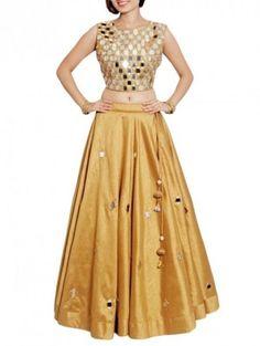 Skirt And Crop Top Indian Golden 38 Ideas Crop Top Designs, Simple Kurti Designs, Blouse Designs, Raw Silk Lehenga, Lehenga Choli, Saree, Blue Skirt Outfits, Kurti Designs Party Wear, Designs For Dresses