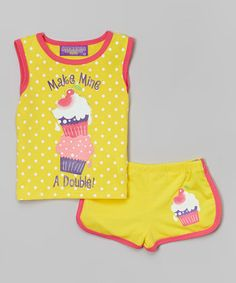 Loving this Yellow 'Make Mine a Double' Tank & Shorts - Infant on #zulily! #zulilyfinds