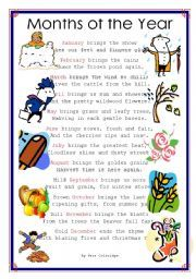 English worksheet: months of the year poem