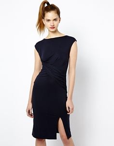 French connection jersey dress with front split from ASOS. Defines the waist and flatters the bust