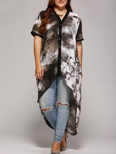 okaywowcool:  tie dye high low button up| free shipping!