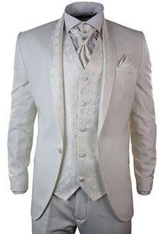 Costume Smoking 5 Pièces Blanc Crème Homme Marriages   Grandes Occasions  Coupe Slim Brillants  Amazon.fr  Vêtements et accessoires ff6fbc67ac4