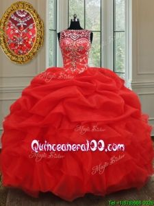 b5eee0efc77 2017 Luxurious See Through Bateau Bubble and Ruffled Red Quinceanera Dress  in Organza