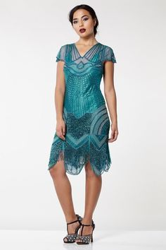gatsbylady london Beatrice Vintage Inspired Fringe Flapper Dress in Teal Flapper Style Dresses, Fringe Flapper Dress, Vintage Inspired Dresses, Fringe Dress, Vintage Dresses, Estilo Art Deco, Designer Party Dresses, London Outfit, Embellished Dress