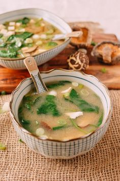 This Superfood miso soup uses ahomemade dashi stock made with dried kombu (kelp), shiitake mushrooms, and bonito flakes. Add soft tofu, lots of healthy spinach, scallions, and miso results in a much heartier miso soup than your favorite Japanese restaurant or sushi place.