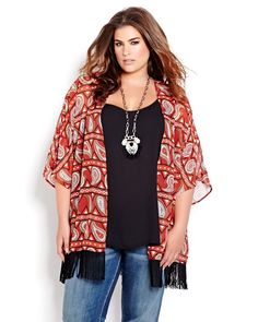 Trend Alert! The Fringe Kimono will be your new summer crush. Available exclusively online in five different bohemian prints from Addition Elle plus size fashion