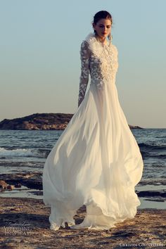christos costarellos fall 2017 bridal long sleeves round neck heavily embellished bodice romantic a line wedding dress mv -- Christos Costarellos 2017 Wedding Dresses Flowing Wedding Dresses, Chiffon Wedding Gowns, Modest Wedding Gowns, Stunning Wedding Dresses, Bohemian Wedding Dresses, Fall Wedding Dresses, Bridal Dresses, Wedding Outfits, Bridal Collection