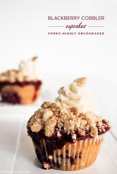 Blackberry Cobbler Cupcakes  |  TheCakeBlog.com  Mmm, yum.  I, too, remember picking wild blackberries for pie  cobbler and I miss the flavors!
