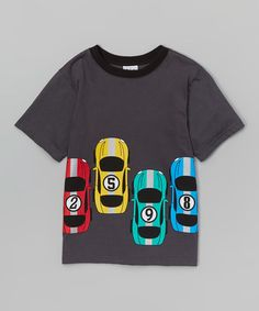Another great find on #zulily! Steel Gray Race Cars Tee - Toddler & Boys #zulilyfinds