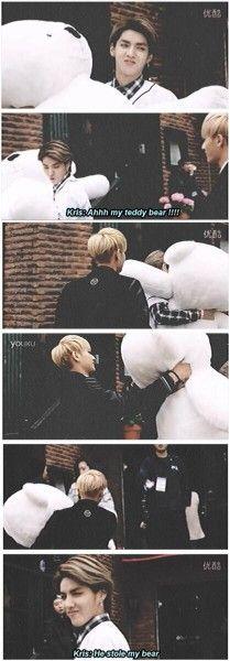 """My teddy bear"" 5seconds later ""he stole my teddy bear"" *smirks* lol love kris and tao!"