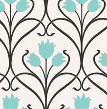 Damask - Black / White / Teal - Tulip - Art Deco - Wallpaper