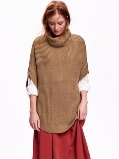Womens Funnel-Neck Poncho