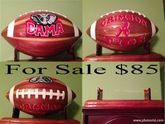 Hand crafted footballs and stand made of cedar. Each one is a one of a kind ~ no two will every be the same. Each ball is hand painted and specially designed to be displayed in your home or office. We create each ball to your specifications. We offer team or personalized balls to your preference. Contact Us with the details you would like on your football. Would make a great gift to a football fan or football player!!! Please contact davenportwoodwork@gmail.com for more info