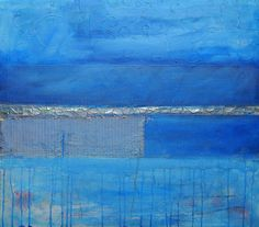 Abstract Textured modern art Painting Blue Colors by Ranko Ajdinovic