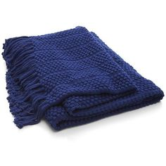 Crate & Barrel Marley Blue Throw ($40) ❤ liked on Polyvore featuring home, bed & bath, bedding, blankets, blanket, fillers, woven blankets, fringe blanket, blue throw blanket et blue bedding