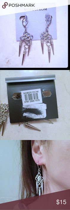 NWT Nordstrom edgy spiked silver dangle earring NWT Nordstrom edgy spiked silver dangle earrings.  Spiky and edgy. Like Unif, Nasty Gal, Dolls Kill, Vanessa Mooney, Eddie Borgo, Baublebar, Stella and dot. Nordstrom Jewelry Earrings