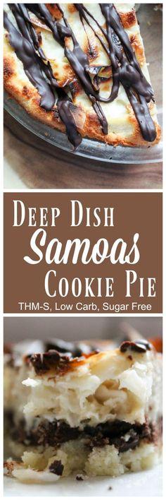 Deep Dish Samoas Cookie Pie {THM-S, Low Carb, Sugar Free} - My Montana Kitchen