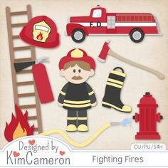 Fighting Fires Layered PSD Templates by Kim Cameron ; Commercial Use for Digital Scrapbooking, #CUDigitals