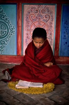 young Tibetan monk, studying