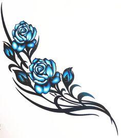 blue rose vine tattoo - Google Search