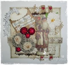 "Christmas Card created by LLC DT Member Karita Vainio, using papers and image from Inkido's ""Forever Santa""."