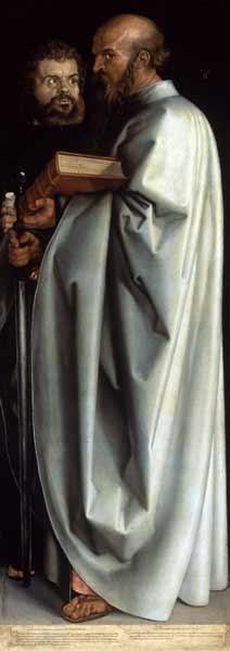 Albrecht Dürer - Les quatre apôtres, partie droite - Saint Marc et Saint Paul
