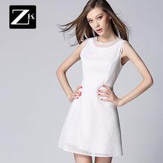 Noutăți pe ZK2015 nouă primăvară a fost subțire femeile rochie albă rochie O rochie rochie vesta