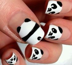 Image via Panda nail art designs Image via How to Create Cute Panda Nail Art Image via Panda nails! Image via Nail Art Water Decals Transfers Sticker Lovely Panda Bamboo Panda Nail Art, Animal Nail Art, Kawaii Nail Art, Panda Bear Nails, Nail Art Diy, Diy Nails, Cute Nails, Nail Art Mignon, Nail Art For Kids