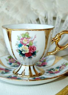 Vintage Elegant Rose and Gold Footed Shafford Collectible Teacup with Saucer From Japan.
