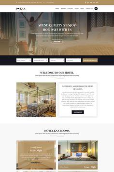 KNA - Hotel, Resort and Holiday PSD Template Website Design Layout, Website Design Inspiration, Layout Design, Design Ideas, School Newsletter Template, Web Design Software, Tech Art, Hotel Reviews, Psd Templates