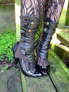 SPATS!!!   Tall Ruffle Spats- Brown/Black Herringbone @ashesandempires $98