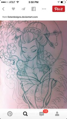 Japanese geisha sketch by on DeviantArt – tattoo sleeve women Kunst Tattoos, Bild Tattoos, Love Tattoos, Tatoos, Tattoo Sketches, Tattoo Drawings, Art Sketches, Art Drawings, Tattoo Art