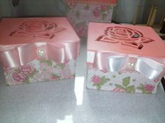 Caixa decorada tampa de rosa