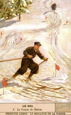 ski posters vintage | vintage skiing poster la slalom vintage skiing trading card vintage ...