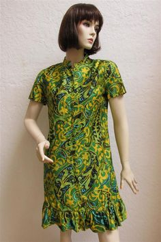 EDIT 1960's I. Magnin Green And Yellow Paisley Print Zip Front Dress  With Ruffle Bottom by MTvintageclothing on Etsy