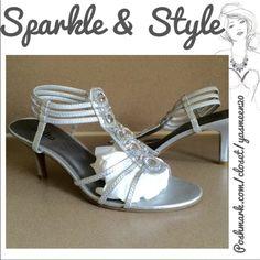 Triple strap dressy heels Fancy silver heels with rhinestones. Very comfortable. Worn once. Shoes Heels