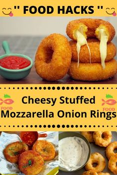 Onion Rings, Appetizer Ideas, Appetizer Recipes, Appetizers, Food Hacks, Mozzarella, Life Hacks Home, Amazing, Awesome