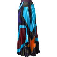 Mary Katrantzou 'Pelar' starheart pleated skirt ($2,060) ❤ liked on Polyvore featuring skirts, high-waist skirt, geometric skirt, blue pleated skirt, pleated skirt and knee length pleated skirt