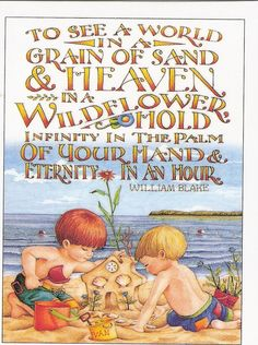To see a world in a grain of sand  And Heaven in a wildflower Hold infinity in the palm of your hand And eternity in an hour. --William Blake