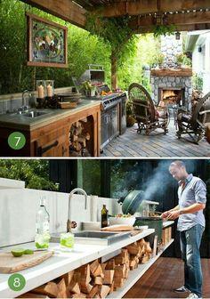 Simple Outdoor Kitchen, Outdoor Kitchen Design, Backyard Kitchen, Rustic Outdoor Kitchens, Kitchen Grill, Outdoor Kitchen Bars, Smart Kitchen, Awesome Kitchen, Beautiful Kitchen