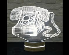 vintage telephone shaped 3D LED lamp