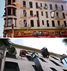 At an abandoned four-story building in San Francisco, furniture is leaping for its freedom from open windows – clocks poking their heads out and looking up at the sky, chairs making a run for it down the peeling brick walls and tables pitching themselves off the roof.