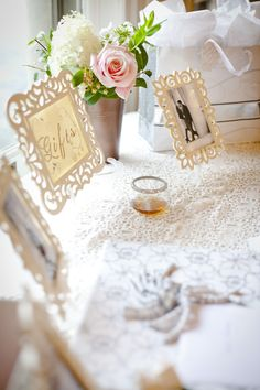 Romantic Wedding - Blush and Ivory gift table with picture frame signs